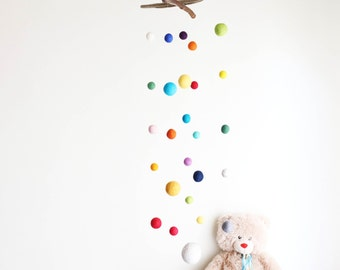 Driftwood Mobile with Felt Balls -- Colorful Felt Poms / 2 cm to 9 cm -- Long Wooden Baby Mobile -- Rustic Natural -- Ready to ship