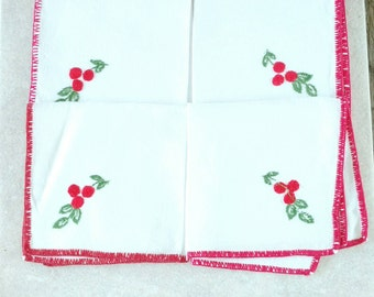 Linen Napkins Embroidered Linen Lunch Napkins Cocktail Napkins Red Cherries Red Trim Set of 4  100 Percent Linen Embroidered Fruit White