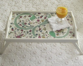 Romantic Cottage Bed Tray with Belleek China Mosaic
