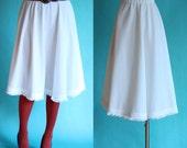 RESERVED for Jessica LaForce Vintage 70s Winter White Skirt - Boho Fringe Skirt - Elastic Waist Full Skirt - Country Western Midi Skirt