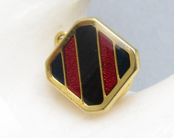 Vintage Striped Tie Tack Enamel Red Black Jewelry H819