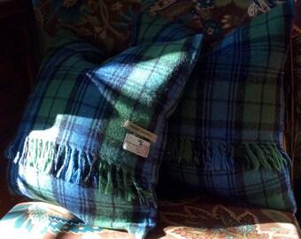 Pr Vintage 100% Wool Authentic Tartan Plaid Pillow Covers OOAK