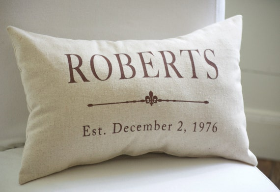 Custom grain sack style pillow with brown lettering, for wedding, anniversary, house warming, birthday, special event, lumbar pillow