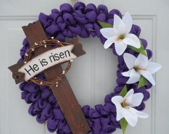 Easter burlap wreath Burlap Easter Cross wreath, Christian Cross wreath, Purple wreath He is Risen wreath Christian wreath, Easter decor RTS