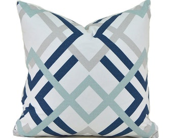 Pillow Covers ANY SIZE Decorative Pillow Cover Navy Blue Pillow Premier Prints Winston Navy
