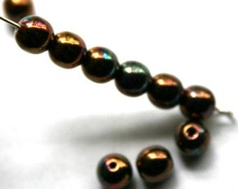 6 mm Bronze Iris Shiny Round Beads