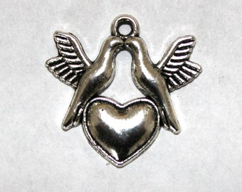 6 Antique SIlver Doves and Heart Charms/Pendants
