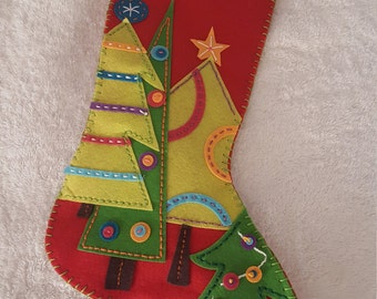 Hand Embroidered Felt Applique Christmas Stocking