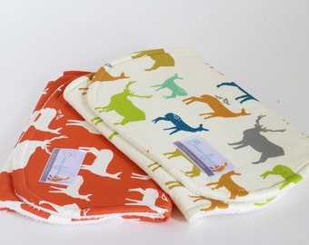 Organic Burp Cloth Set of Two / Deer in Coral and Multi