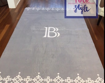 Monogrammed Area Rug - Gray and Lace Personalized Area Rug- Pick Your Colors