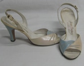 "Vintage 1940's Sexy Pin Up Sling Back Shoes Intertwined Pale Pink & Sky Blue 4"" High Heels Dress Dressy Leather Soles Size 7aa Wearable!"