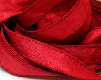 Red Hot Crinkle Essence 1/2in. x 42 in. single ribbon// Essence Wrist Wrap Bracelet Ribbons //by Color Kissed Silk LLC.