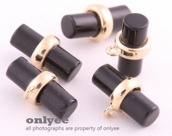 2pcs-4mmX10.5mmBright Gold plated Brass Gemstone Circle Cylinder one loop for Connector, pendants,charms-Black(M404G-B)