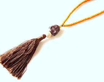 Tassel necklace, Buddha necklace, Tangerine necklace, Rosary necklace, boho necklace, gypsy necklace, meditation necklace, orange necklace