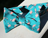 Green Flamingo Bow Tie