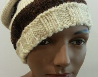 Brown & White Knit Hat