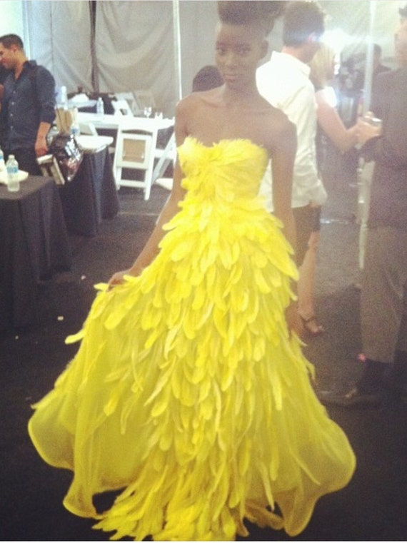 "IRINA SHABAYEVA COUTURE ""Bird of Paradise"" chiffon/feather gown."