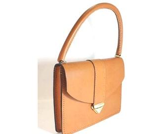 "Hand Stitch Tan USA Bridle Leather Purse Handbag 11"" x 8"" x 1.5"" - Marcellino NY - Ready To Ship"