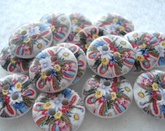 15mm Wood Buttons Bright Multi Print Pack of 15 Bright Buttons WW1542j