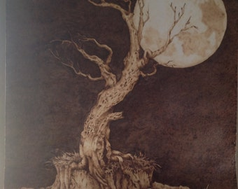 Pyrography, Woodburn, pyrographics, Woodburn tree, wall art, Woodburn on paper, home decor, tree with moon,