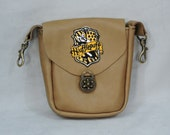Tan Leather Clip Bag, Hip Pouch, Belt Loop Bag, Sporran, Purse with Hufflepuff Patch