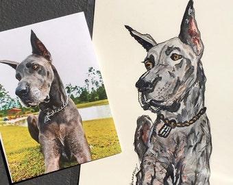 """Watercolor Pet Portrait - 8""""x10"""""""