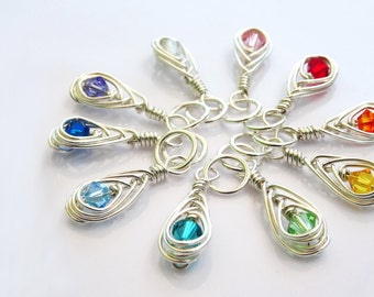 Silver Rainbow Knitting Stitch Markers - Handmade in Sterling Silver Wire with Sparkling Swarovski Crystals