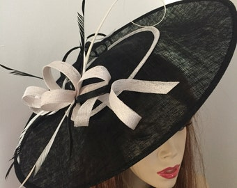 Fascinator Hat Black and White Saucer Big headpiece with Feathers on hairband, perfect for the races or a wedding