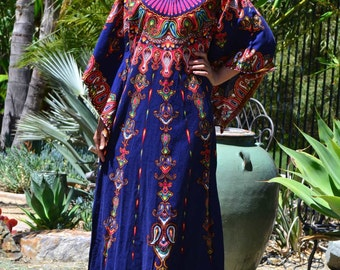 Vtg 60's 70's Boho Gypsy Goddess dashiki colorful Mandala Navy angel wing sleeve cotton sz M//L caftan maxi dress