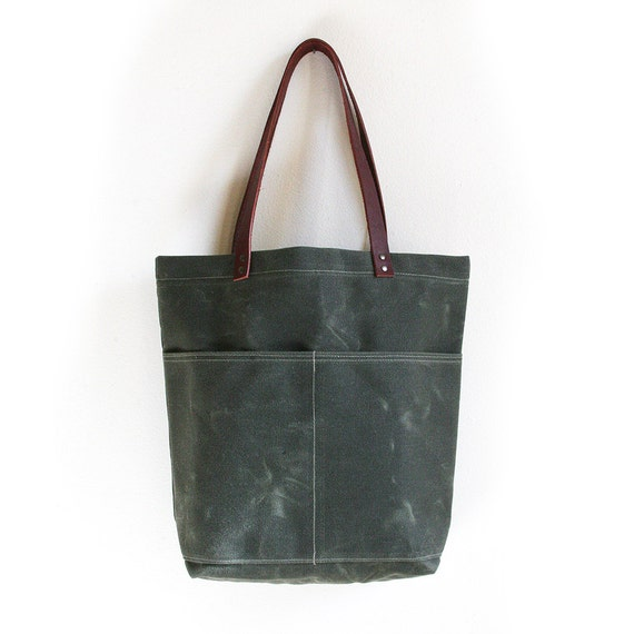 Dark Olive Waxed Canvas Tote Bag with Leather Straps and Two Front Pockets
