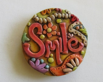Rustic Paisley Smile magnet, Boho Smile Magnet, Whimsical Paisley Refrigerator Magnet