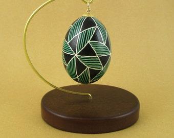 Pysanky Pisanki Ukrainian Polish Easter Egg Green Bowtie Hand Decorated Chicken Egg