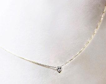 Tiny Delicate Pear Cut Diamond Necklace