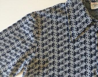 1970s Jantzen Horse Knit Polyester Shirt (Large)