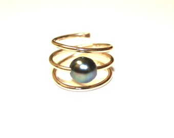 Tahitian Pearl Ring - Floating on Gold Fill, Sterling Silver or Rose Gold