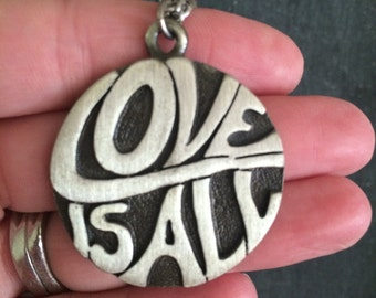 Love is All vintage medallion pendant necklace, hippie necklace