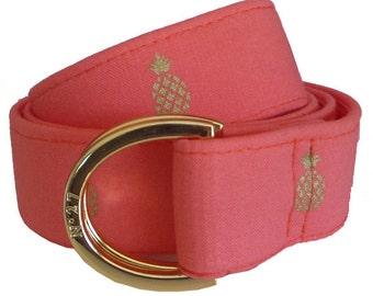Cloth Belt/ Fabric Belt/Woman's D-Ring Belt/ Colorful Belt/ Canvas Belt/ Preppy Belt/ Golden Pineapple on Coral  Fabric D-Ring Belt