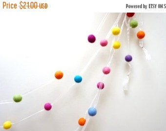 HALLOWEEN SALE Custom felt wool balls garland  multicolor blue black red pink purple green yellow orange white extra long Christmas  Easter