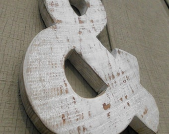 Rustic Barn Wood Letter / Shabby Chic / Ampersand / Painted Barn Wood Letter / Wedding Prop