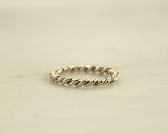 2 Tone 14K White And Yellow Gold Twist Infinity Stacking Ring