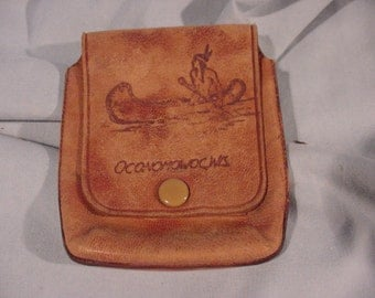 Small Leather Pouch, Souvenir of Oconomowoc WI. , American Indian in Canoe