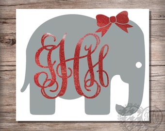 Glitter Elephant Monogram Decal with Bow, Elephant Decal, Glitter Monogram Car Decal, Tumbler Decal, Laptop Decal, Tablet Decal