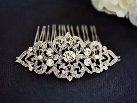 Art Nouveau  Bridal Hair Comb  - Crystal Wedding Hair Piece - Vintage Bridal Hair Clip - Rhinestone Hair Comb