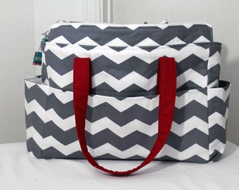 Chloe XL Diaper Bag Set- Grey Chevron and Superhero Fabric- Made to Order