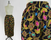 RESERVED FOR ESMERALDA - Vintage 90s Wide Leg Pants - Gold Chain Print Rayon Palazzo Pants w/ Original Tag Attached - Size Large