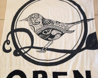 Paisley bird with OPEN
