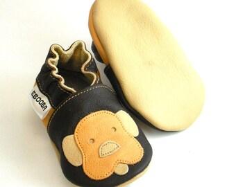 soft sole baby shoes leather infant gift doggy yellow 6-12 fille Lauflernschuhe Krabbelschuhe Lederpuschen chaussons ebooba DG-10-DB-M-2
