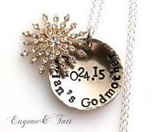 Baptism Gift Necklace, Godmother Necklace, Custom Baptism Gift for Godmother, Personalized, GOLD Filled Chain, Baptism Gift for Godparents