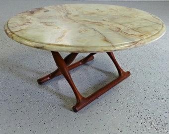 mid century Danish modern rare Poul Hundevad teak and marble round folding coffee table