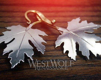 Maple Leaf Cloak Pins/Clasps Set - Made of White Bronze -- Elven Leaves/Fantasy/Celtic/Forest/Nature